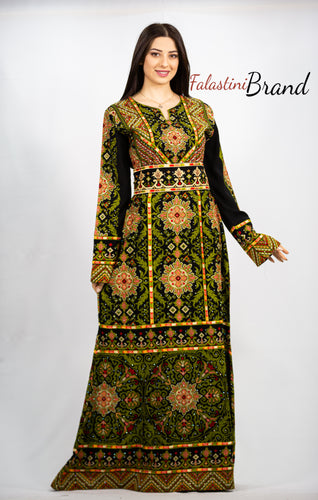 Stylish Green On Black Palestinian Fish Cut Embroidered Thobe Dress