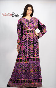 Stylish Purple On Black Palestinian Fish Cut Embroidered Thobe Dress