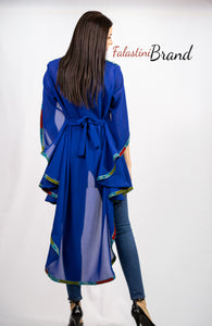 Stylish Royal Blue Sheer Cape Palestinian Embroidery