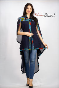 Stylish Navy Sheer Cape Palestinian Embroidery