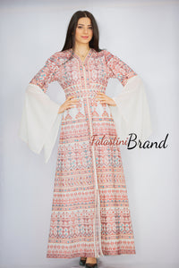 Version 5 White Palestinian Queen Thobe Embroidered Dress Long Sleeve Palestinian Design And Embroidery