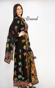 Distinctive Grape Leaves Palestinian Embroidered Colorful Zippered Abaya Slit Sleeve