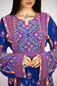 Royal Blue Palestinian Embroidered Thobe Dress Stunning Embroidery