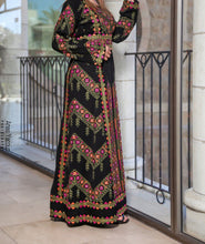 Manajil Samer Palestinian Embroidered Deep Green Thobe Maxi Dress Long Sleeves Kaftan Palestinian Embroidery