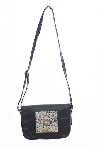 Medium sized black handbag with light blue embroidery - Falastini Brand