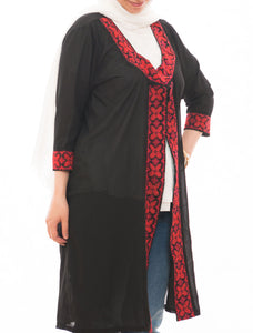 Hand embroidered black chiffon jacket - Falastini Brand