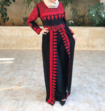Stylish Black and All Red Palestinian Embroidered Jumpsuit Long Sleeve