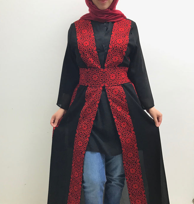Black maxi light jacket/abaya with red embroidery - Falastini Brand
