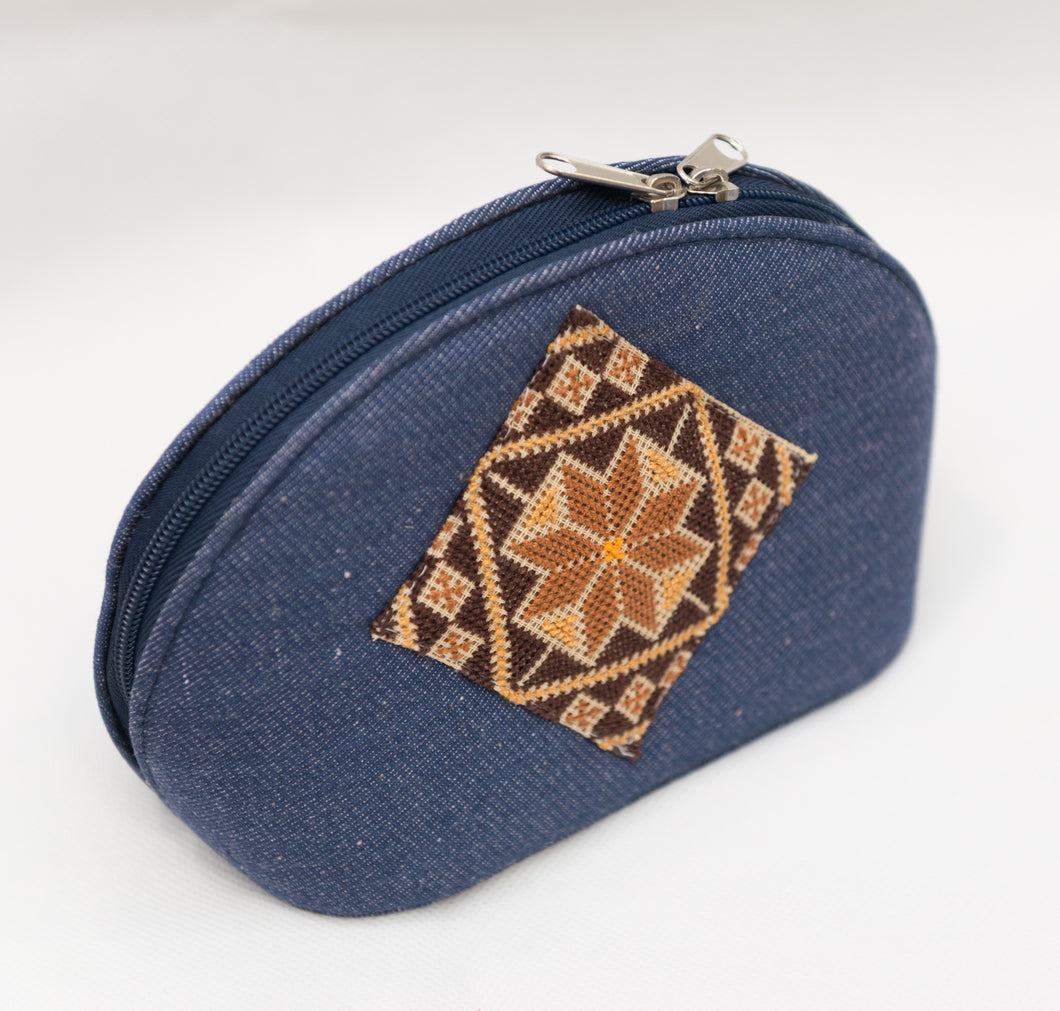 Denim makeup bag with embroidery - Falastini Brand