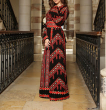Manajil Samer Palestinian Embroidered Black and Red Thobe Maxi Dress Long Sleeves Kaftan Palestinian Embroidery