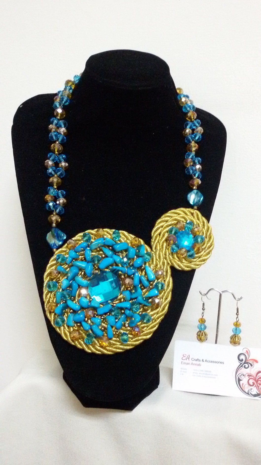 Handmade turquoise necklace and earrings - Falastini Brand