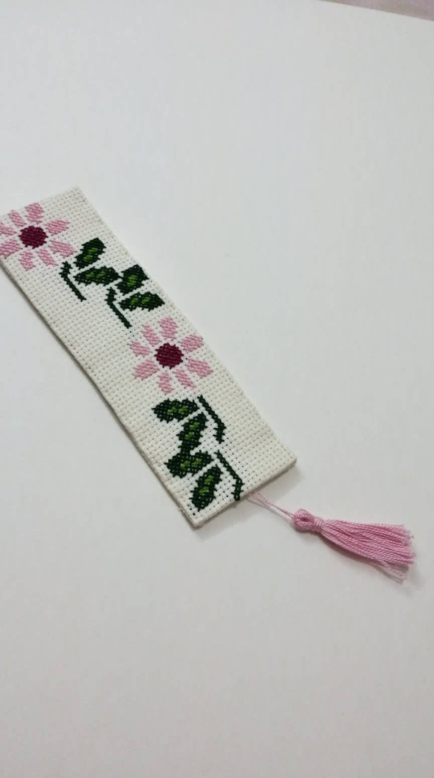 Off white bookmark with pink and green embroidery - Falastini Brand