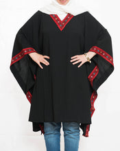 Black cape with red embroidery - Falastini Brand
