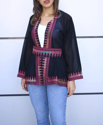 Black Georgette Open Jacket With Stylish Embroidery V1