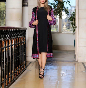 2 Pieces Violet Palestinian Short Dress With Palestinian Embroidery Long Puff Sleeves
