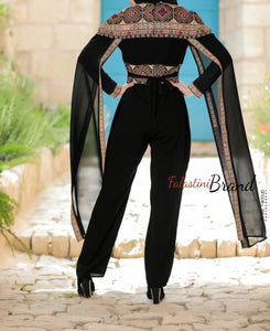 Royal Black and Gold Palestinian Embroidered Jumpsuit Long Sleeve