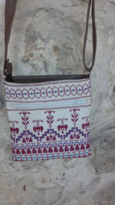 Embroidered handbag off white color - Falastini Brand