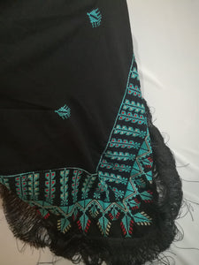 Black shawl with turquoise embroidery - Falastini Brand