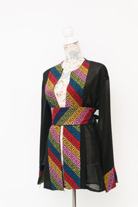 Black jacket wil multicolor embroidary and belt - Falastini Brand