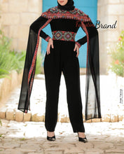 Royal Black and Red Palestinian Embroidered Jumpsuit Long Sleeve