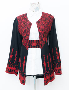 Black jacket with red embroidery and belt - Falastini Brand