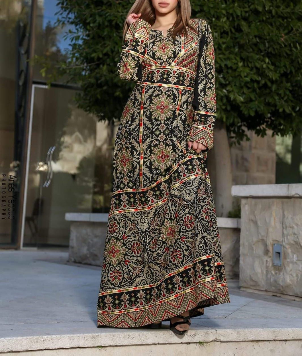 Palestinian Embroidered Thobe Maxi Dress Long Sleeves Kaftan Palestinian Design And Embroidery