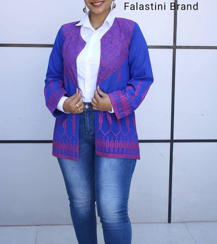 Royal Blue Sheer Jacket With Stylish Embroidery