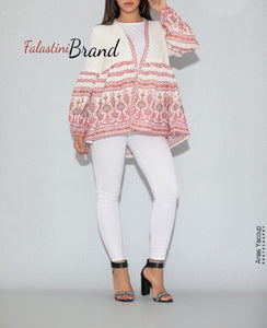Stylish Modern Design Palestinian Embroidered Jacket Long Buff Sleeve