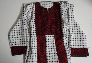 Palestinian Kufeyyeh embroidered dress for girls 2 lines
