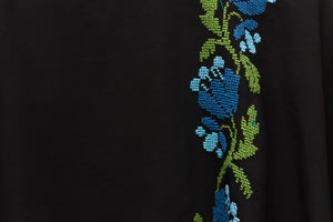 Black blouse with blue and green embroidery - Falastini Brand