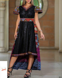 Gorgeous Black Short Dress Short Sleeve Embroidered Back