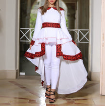 White Gorgeous Palestinian Embroidered Blouse Dress Long Sleeves