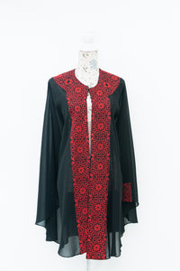 Long black cape jacket with red embroidery - Falastini Brand