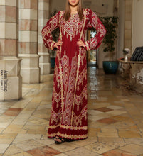 Manajil Samer Palestinian Embroidered Red Thobe Maxi Dress Long Sleeves Kaftan Palestinian Embroidery