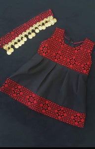Black sleeveless girl's embroidered dress with headband - Falastini Brand