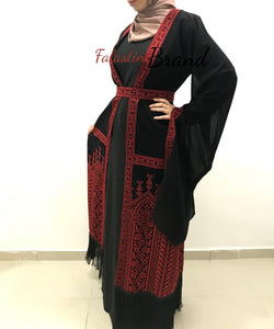 Wonderful Fringe Hem Palestinian Black & Red Georgette Embroidered Open Abaya Long Slit Sleeve