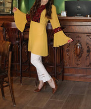 Ochre Georgette Embroidered Blouse Long Bell Sleeve