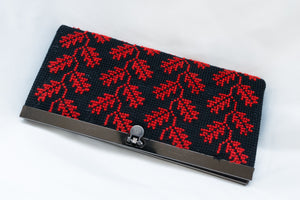 Embroidered wallet - red and black leaf print - Falastini Brand