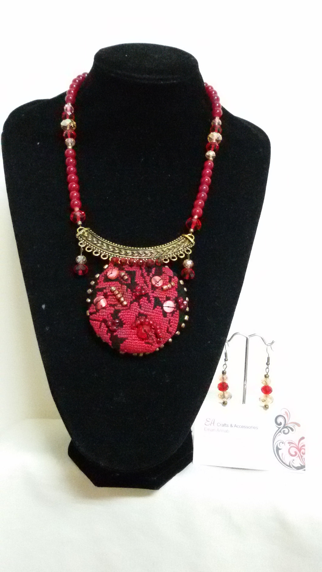 Handmade red necklace and earrings with embroidery - Falastini Brand