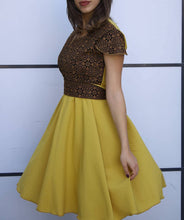Breathtaking One Piece Yellow Palestinian Short Dress Short Sleeve With Brown Amazing Embroidery
