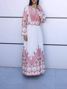 Beige Palestinian Thobe Caftan Maxi Dress Double Stitch High Quality Stylish Embroidery