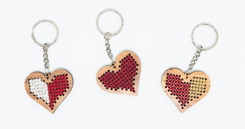 Heart shaped wooden embroidered keychain - Falastini Brand