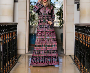 Queen Thobe Embroidered Palestinian Maxi Dress Long Sleeves Kaftan Palestinian Design And Embroidery