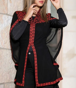 Stylish Black Sheer Cape Palestinian Red Embroidery