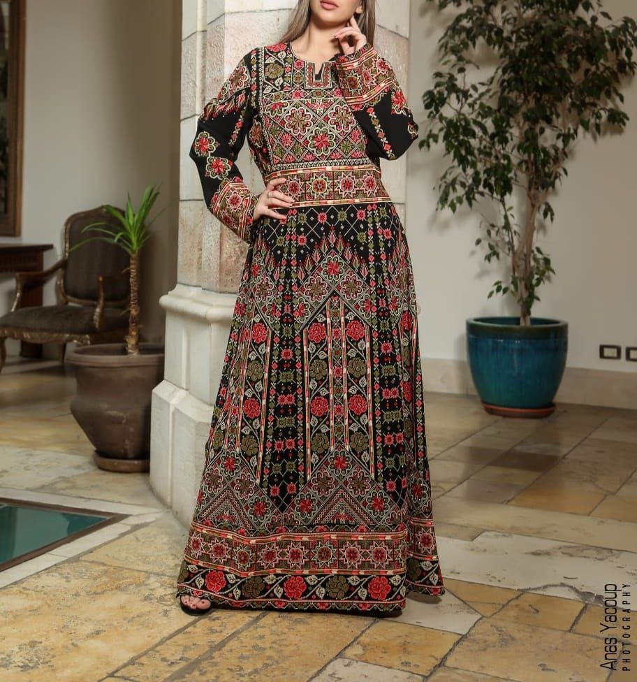 Palestinian Floral Embroidered Thobe Maxi Dress Long Sleeves Kaftan Palestinian Design And Embroidery