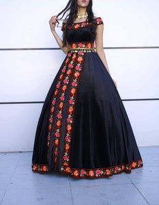 Astonishing Floral Embroidered Palestinian Gown Bridal Shower Velvet Dress Special Design Short Sleeve