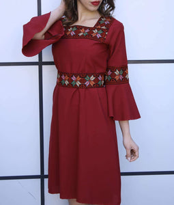 Stylish Red Short Dress With Beautiful Embroidery Bell Sleeves
