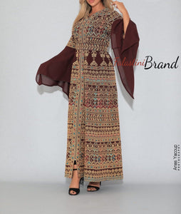 Version 5 Burgundy Palestinian Queen Thobe Embroidered Dress Long Sleeve Palestinian Design And Embroidery