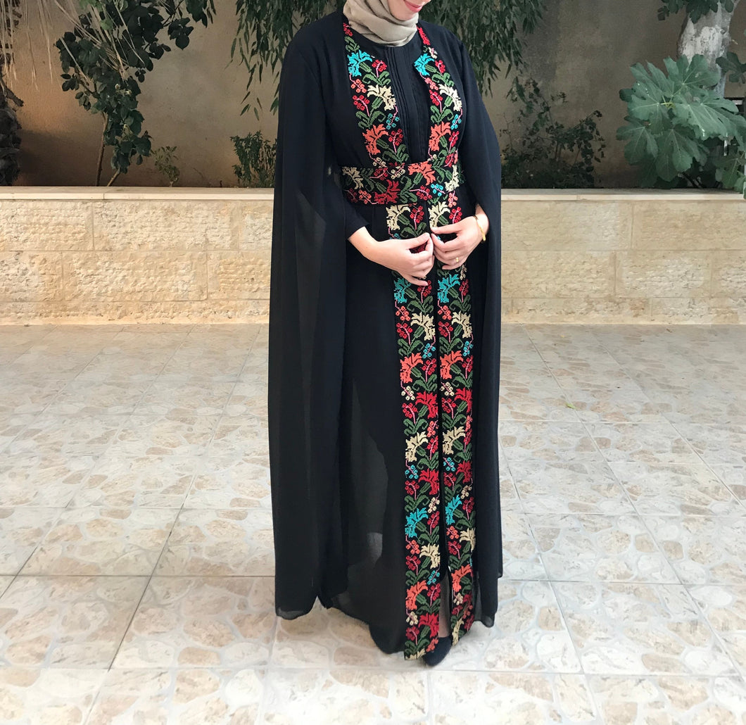 Fabulous Floral Embroidery Open Abaya Slit Sleeves