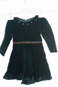 Dark green baby girl soft velvet dress with stylish hand embroidery - Falastini Brand